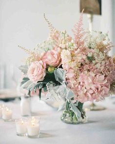 Wedding Flower Arrangements blush pink wedding flower arrangements for table - St. Louis Downtown Ballroom Wedding photographed by Clary Photography and overflowing with elegance and grace. Pink Wedding Centerpieces, Vintage Centerpieces, Wedding Flower Arrangements, Floral Arrangements, Wedding Bouquets, Wedding Decorations, Centerpiece Ideas, Blush Centerpiece, Blush Weddings