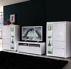 Wohnwand Kombination 3-tlg LINO in Hochglanz weiß lackiert