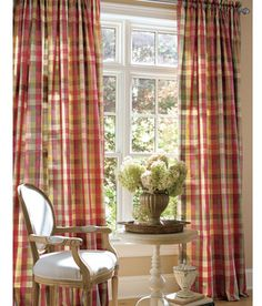 Moire Plaid Rod Pocket Curtains Country For Den