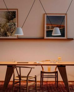 Attic is a light that creates a soft atmosphere. The position of the cables and the light can be moved to create different compositions. Nordic Lights, Lamp Design, Attic, Dining Table, Lighting, Architecture, Furniture, Pendants, Home Decor