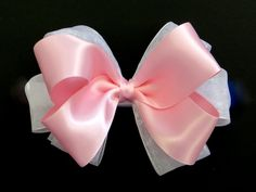 Baby Girl Satin Chiffon Hair Bow (Choose Top Satin Color) - www.pinkbowtique.com