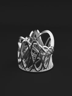 3d printed filigran ring rollercoaster style. Manufactured in silver 925