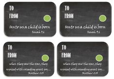 Christmas gift tags with Bible verses... sample- FREE printable with 8 tags