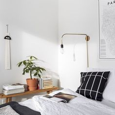 Make a morning playlist to keep you time. 7 Shortcuts to Save You Time in the Morning via Organizing Your Home, Home Organization, Organising, How To Better Yourself, Save Yourself, Minimal Apartment, Above Bed, Bedside Lighting, Interior Stylist