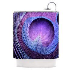 Kess InHouse Monika Strigel Purple Peacock Lavender Shower Curtain
