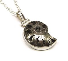 Pyritized Ammonite Sterling Silver Pendant  N636 by TheSilverBear, $155.00