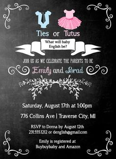 Ties or Tutus Gender Reveal Invitation by AnnounceItFavors on Etsy