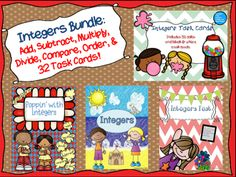 This integers bundle contains 4 different products combined in one file.  You will receive a total of 13 no prep printables to allow plenty of practice with integers.  You will also receive 32 color and black/white task cards.  This set is great for test prep, mini lessons, RTI, center work, homework/classwork practice, and/or sub work.Or you can buy them individually here:Integers Task Cards: 32 Color and B&W Task CardsPoppin' with IntegersIntegersIntegers TestVISIT MY BLOG