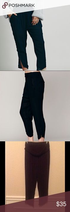 Free People Semi-Sheer Gold Ankle Zip Harem Pants Slightly sheer solid black harem style pants with elastic waist. Zipper detail at ankles. Front has a twist of fabric around the waist. These pants have two front and two back pockets. Free People Pants Ankle & Cropped