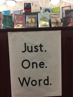 So many books have a title that is just one word.  This is the simple display we came up with that features these titles.