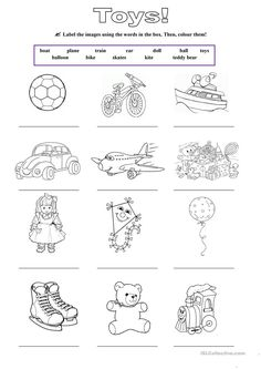 Toys english activities for kids, worksheets for kids, learning english for kids, english English Activities For Kids, Learning English For Kids, English Worksheets For Kids, Teaching English, Kids Worksheets, Kids English, English English, Kindergarten Reading, Kindergarten Worksheets