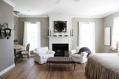 Master bedroom color- Sherwin Williams Intellectual Gray- The Magnolia Mom by cristina