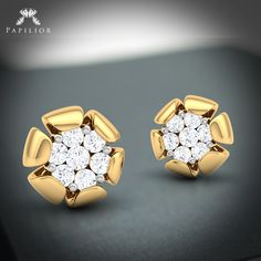 'Impress your beautiful 'She' with a diamond. Wedding Earrings Studs, Diamond Earrings, Ear Pin, Diamond Tops, Flower Shape, Designer Earrings, Diamond Pendant, Fashion Rings, Jewelry Collection