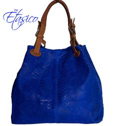 RESTOCKED - Etasico Italian Leather Purse Iris Python Print Blue Handbags - Made In Florence Tuscany Italy. Stunning Color and Perfect Year around Hobo.  #etasico #leatherhandbags #leatherbags #BagMadness #cobaltbluehandbag #cobaltbluebag #designerhandbag #designerbag #2014fashion