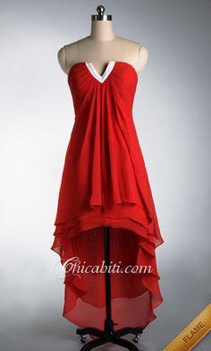 e0a6a5ccaad0 Fluente Vestito da Cerimonia Senza Spalla High-Low Rosso ACM032  chicabiti   High Low