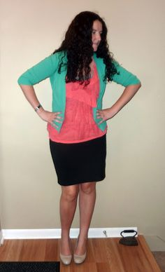Like the color scheme. Mint cardigan, lace coral tank top, black pencil skirt, nude pumps
