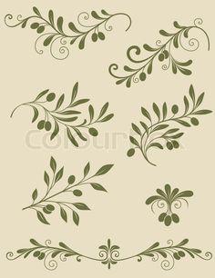 Decorative olive branch | Vector | Colourbox on Colourbox