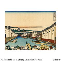 Carte Postale Nihonbashi bridge in Edo (by Hokusai)