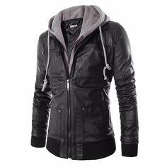 Lisli Mens Premium PU Leather Motorcycle Bomber Jacket with Detachable Hood Winter Coat Jacket Clothes For Men Male 01C0544 #Affiliate