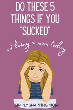 "Being a mom is hard. And sometimes we have bad days. Sometimes I just even think ""I sucked at being a mom today"". If you have days like this, toss out the mom guilt and do these simple things to reset and be a happier and calmer mom. This mom advice will help you reconnect with your kids and yourself. Mindfulness tips included! Days Like This, Parenting Articles, Mom Advice, Mom Humor, How Are You Feeling, Feelings, Tips, Counseling"
