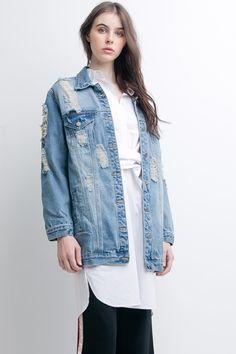 Over-sized Long Denim Jacket