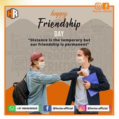 Happy Friendship Day 2020...!!!  Stay Safe...  Follow us @hsriar.official  Contact us Email: hsriar.work@gmail.com Whatssapp: +91 9664640420  #happyfriendshipday #friendshipday #friendshipday2020 #friendship #hsriar #marketing #happyfriendshipday2020 #hsriarofficial #socailmedia #startup #brand #staysafe #covid19 #vadodara #india #digitalmarketing #graphicdesigner #socialmediamarketing Happy Friendship Day, Our Friendship, Social Media Marketing, Digital Marketing, Socail Media, Stay Safe, Gifts For Friends, India, Graphic Design