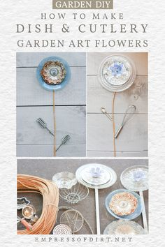 Use unwanted items from your kitchen including dishes, whisks, and cutlery to create garden art flowers. Kitchen Dishes, Diy Kitchen, Thrift Shop Finds, Flower Art, Art Flowers, Repurposed Items, Garden Signs, Yard Art, Creative Art