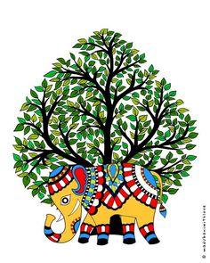 Set of 3 original Prints Madhubani art Elephant and tree Madhubani painting, Mithila painting Indian wall decor Art Forms Of India, India Art, Kalamkari Painting, Indian Art Paintings, Abstract Paintings, Mandala Art Lesson, Madhubani Art, Indian Folk Art, Madhubani Painting
