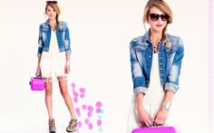jean jacket and bright colors     threadsence... of course