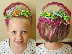 Tay's amazing Crazy Hair Day Easter Basket hair courtesy of her uber creative stepmama