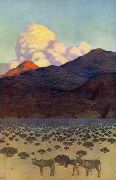 """Formal growth in the desert by Maxfield Parrish. From """"The Great South West"""" by Ray Stannard Baker. The Century Magazine, c 1902"""