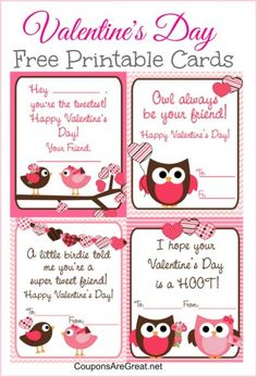 Free printable valentine's day cards Pinned by www.myowlbarn.com