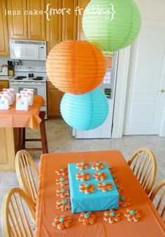 "Orange, Turquoise, Lime Green either 24"" lanterns, 3 foot balloons, or varied size honeycomb balls"