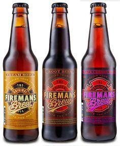 Fireman's Brew Cream Soda, Root Beer Soda & Black Cherry Soda