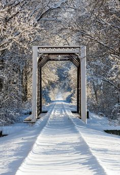 An iron train trestle and railroad tracks are covered with snow in wooded, wintry scene.