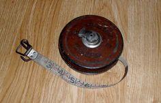 Dietzgen Columbia Vintage Leather Bound Tape Measure 50 Feet Metallic Tape