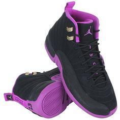 Nike Girls Air Jordan 12 Retro GG Black/Metallic Gold Star-Hyper... ❤ liked on Polyvore featuring shoes