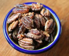 Bacon Fried Pecans « The Runaway Spoon Bacon Fried Pecans  Let the bacon grease cool, then reheat it for frying.  The nuts burn quickly and reheating allows more control over the temperature.  1 pound bacon  8 ounces pecan halves  salt