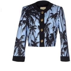 Fausto Puglisi Blazer ($290) ❤ liked on Polyvore featuring outerwear, jackets, blazers, sky blue, multi pocket jacket, fausto puglisi, long sleeve jacket, long sleeve blazer and single breasted jacket