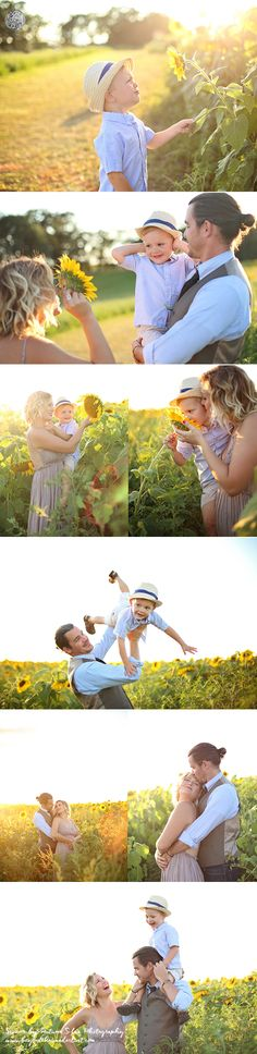 Family in sunflower fields. Read through to see more poses and ideas.