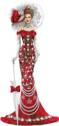Canadian Pride Lady Figurines With Swarovski Crystals Old Dress, Fashion Art, Vintage Fashion, Fashion Design, Pin Up, Illustration Mode, Illustrations, Thomas Kinkade, Victorian Women