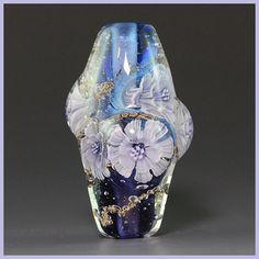 Ikuyoglassart Handmade Lampwork Silver Glass Flower Murrini Focal Bead SRA | eBay