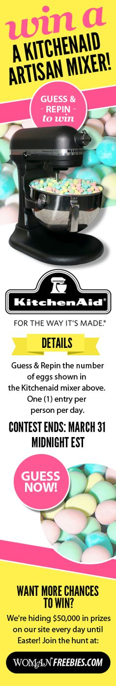 WIN a #KitchenAid Artisan Mixer by guessing the amount of mini #eggs in this bowl!  Write your answer, re-pin and then click here for more info! #egghunting   356 eggs http://womanfreebies.com/featured/guessing-game/?guess  *Expires March 31, 2013*