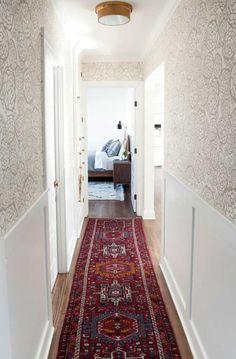 hallway floral wallpaper, runner