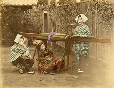 Geiko Kayo with tobacco pipe and pouch, 1870s