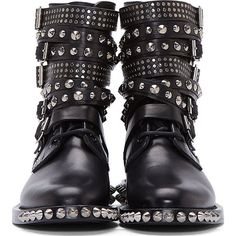 Saint Laurent Black Leather Studded Rangers Boot (8.610 NOK) ❤ liked on Polyvore featuring shoes, boots, lace up boots, leather lace up boots, laced boots, black leather studded boots and round toe boots