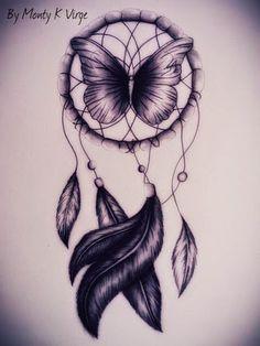 purple butterfly dream catcher tattoo plus dream catchers butterfly ...