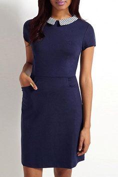 Vintage Navy Blue Peter Pan Collar Short Sleeve Dress For Women