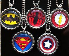 Super Hero Bottle Cap Necklaces!!!!!