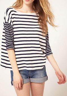 Colorful Striped Half Sleeve Cotton Blend T-Shirt